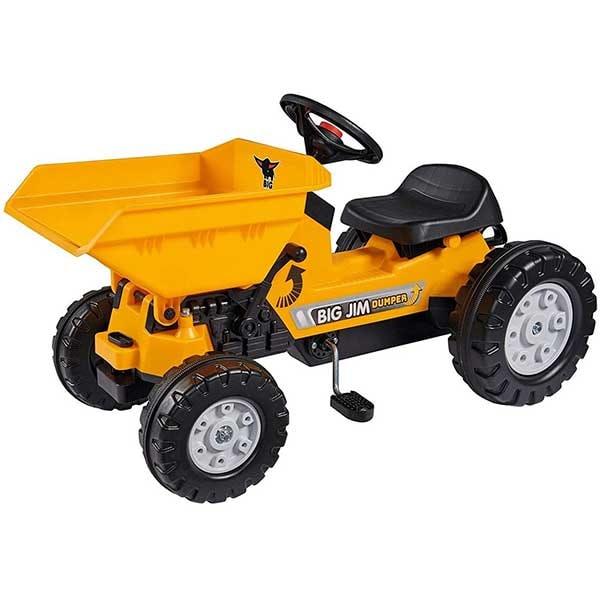 Tractor cu pedale si remorca BIG Jim Dumper 800056568, 2 ani+, galben-negru