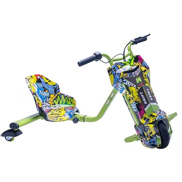 Tricicleta electrica FREEWHEEL Drift Trike V2, 8 inch, Graffiti Galben