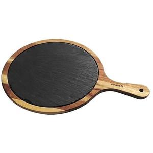 Platou servire ZOKURA Z1154, 25cm, lemn acacia si ardezie, negru