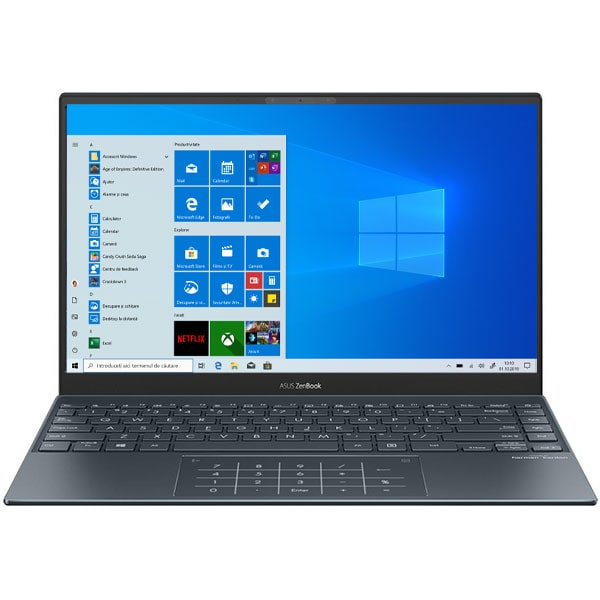 "Laptop ASUS Zenbook 13 UX325JA-AH073R, Intel Core i5-1035G1 pana la 3.6GHz, 13.3"" Full HD, 16GB, SSD 512GB, Intel UHD Graphics, Windows 10 Pro, gri"