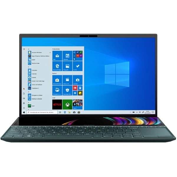 "Laptop ASUS ZenBook Duo UX481FA-HJ048R, Intel Core i5-10210U pana la 4.2GHz, 14"" Full HD Touch, 8GB, SSD 512GB, Intel UHD Graphics 620, Windows 10 Pro, Celestial Blue"