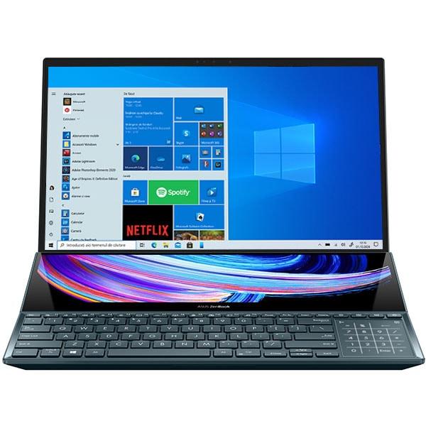 "Laptop ASUS ZenBook Pro Duo OLED UX582LR-H2002R, Intel Core i9-10980HK pana la 5.3GHz, 15.6"" 4K UHD Touch, 32GB, SSD 1TB, NVIDIA GeForce RTX 3070 8GB, Windows 10 Pro, Celestial Blue"