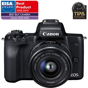 Aparat foto Mirrorless CANON EOS M50, 24.1 MP, Wi-Fi, negru + Obiectiv M15-45mm IS STM
