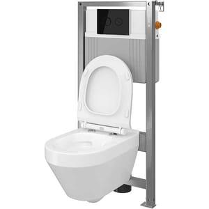 Set vas toaleta CERSANIT B34 AQUA 72, montaj incastrat, evacuare spate, cu capac, alb