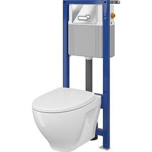 Set vas toaleta CERSANIT B41 AQUA 22, montaj incastrat, evacuare spate, cu capac, alb