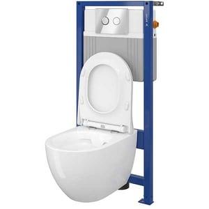 Set vas toaleta CERSANIT B164 SYSTEM 51, montaj incastrat, evacuare spate, cu capac, alb
