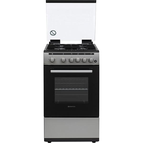 Aragaz VORTEX VAG5050SS01V, 4 arzatoare, Gaz, L 50 cm, Grill, argintiu