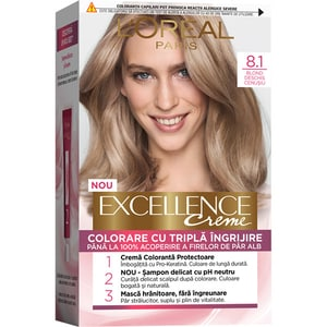 Vopsea de par L'OREAL Paris Excellence, 8.1 Blond Deschis Cenusiu, 182ml