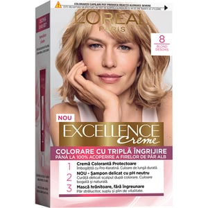 Vopsea de par L'OREAL Paris Excellence, 8 Blond Deschis, 182ml