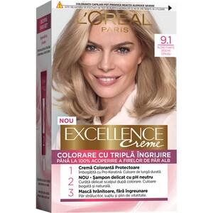 Vopsea de par L'OREAL Paris Excellence, 9.1 Blond Foarte Deschis Cenusiu, 182ml