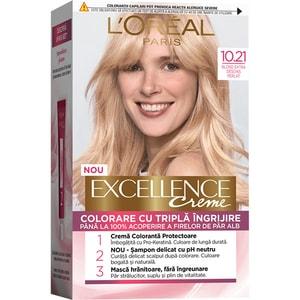 Vopsea de par L'OREAL Paris Excellence, 10.21 Blond Foarte Foarte Deschis Perlat, 182ml