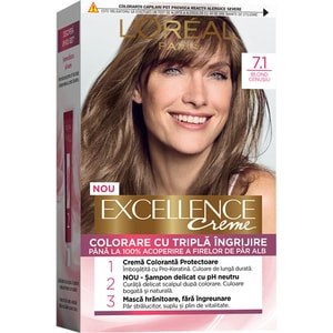 Vopsea de par L'OREAL Paris Excellence, 7.1 Blond Cenusiu, 182ml