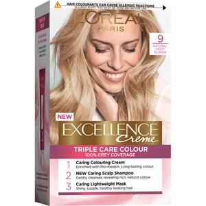 Vopsea de par L'OREAL Paris Excellence, 9 Blond Foarte Deschis, 182ml