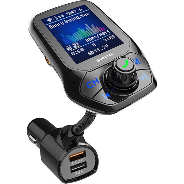 "Modulator FM VORTEX VO2103, Ecran TFT 1.8"", Bluetooth, USB, negru"
