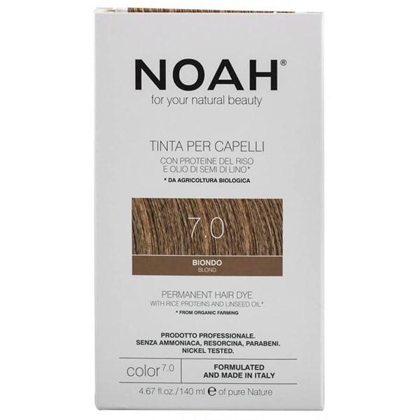 Vopsea de par naturala fara amoniac NOAH, 7.0 Blond, 140ml