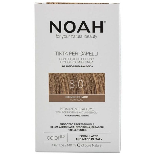 Vopsea de par NOAH, 8.0 Blond deschis, 140ml