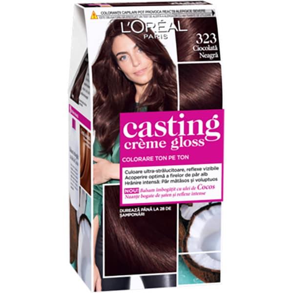 Vopsea de par L'OREAL Paris Casting Creme Gloss, 323 Ciocolata Neagra, 180ml