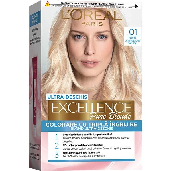 Vopsea de par L'OREAL Paris Excellence, 01 Blond Ultra-Deschis Natural, 182ml