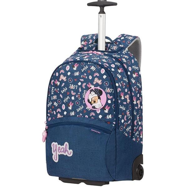Ghiozdan cu roti SAMSONITE Funtime Disney Minnie Doodles, albastru-roz
