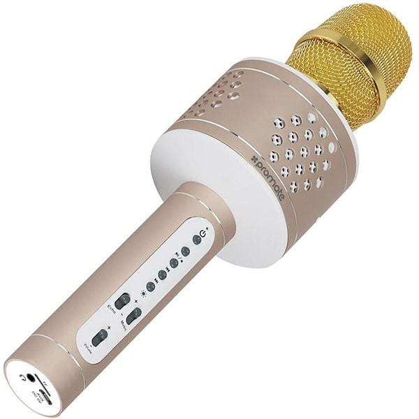 Microfon si boxa portabila pentru Karaoke PROMATE VOCALMIC-3, BT, Acumulator, gold