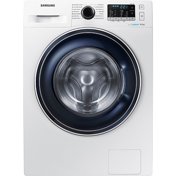Masina de spalat rufe frontala SAMSUNG WW80J5345FW/LE, EcoBubble, 1200rpm, 8kg, Clasa A+++, alb