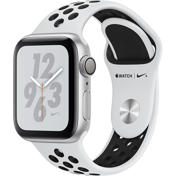 APPLE Watch Series 4 NIKE+ 40mm Silver Aluminium Case, Pure Platinum/Black Sport Band