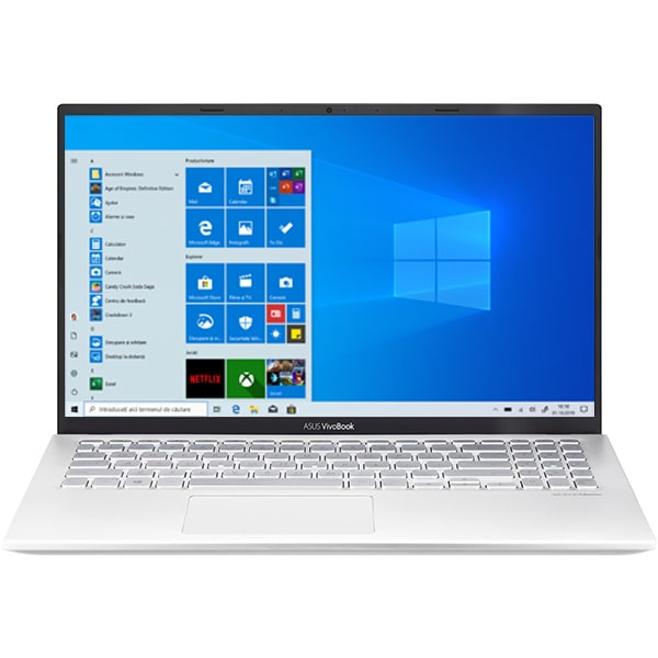 "Laptop ASUS VivoBook 15 X512DA-EJ171T, AMD Ryzen 5-3500U pana la 3.7GHz, 15.6"" Full HD, 8GB, SSD 512GB, AMD Radeon Vega 8 Graphics, Windows 10 Home, Transparent Silver"