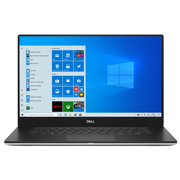 "Laptop DELL XPS 15 7590, Intel Core i7-9750H pana la 4.5GHz, 15.6"" Full HD, 16GB, SSD 1TB, NVIDIA GeForce GTX 1650 4GB, Windows 10 Pro, argintiu"