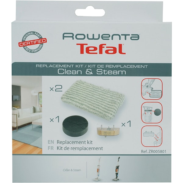 Kit ROWENTA Clean&Steam ZR005801: 1 filtru spuma + 2 mopuri microfibre + 1 cartus anticalcar