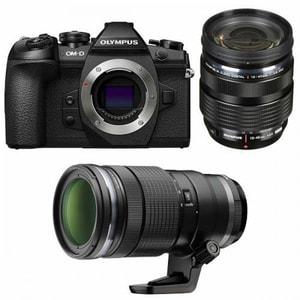 Aparat foto Mirrorless OLYMPUS E-M1 Mark II, 20.4 MP, 4K, Wi-Fi, Double zoom Kit