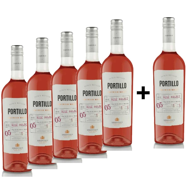 Vin rose sec Portillo Rose Malbec, 0.75L, 5+1 sticle