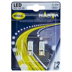Bec auto LED NARVA 180114000, W5W, 6000K, 12V, 0.5W, W2.1X9.5D, set 2 bucati