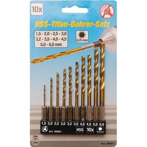 Set burghie HSS-TiN BGS 50801, 1.5-6 mm, 10 piese