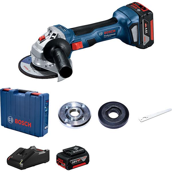 Polizor unghiular (flex) BOSCH Professional GWS 180-LI 06019H9021, 18V, 2 acumulatori 4Ah, 125mm, 11000RPM, motor brushless, valiza transport