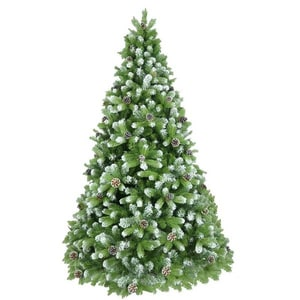 Brad artificial cu varfuri ninse si conuri BRAZIDELUX Premium, 240 cm, verde-alb