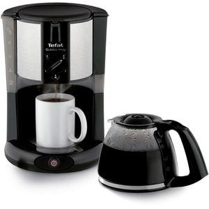 Cafetiera TEFAL Subito Mug CM290838, 1.25l, 1000W, negru-argintiu