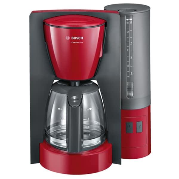 Cafetiera BOSCH ComfortLine TKA6A044, 1.25l, 1200W, 15 cesti, rosu-gri inchis
