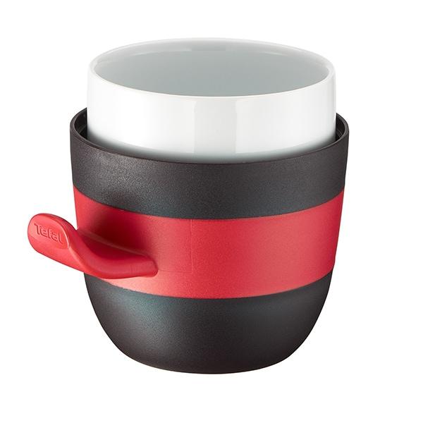 Cana cu capac TEFAL Quick K2050224, 0.5l, ceramic, negru-rosu