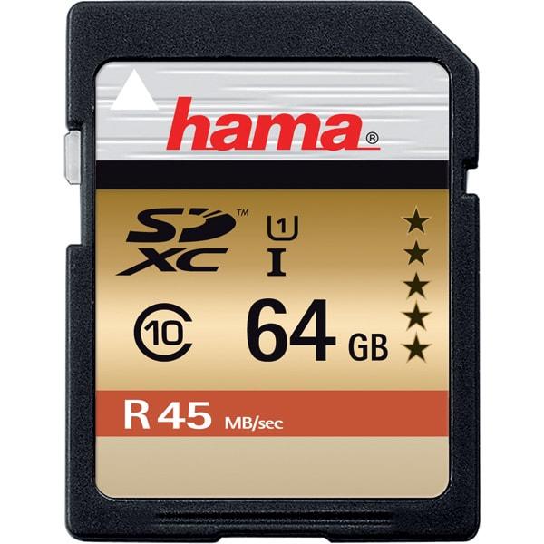 Card de memorie SD XC 64 GB HAMA 114944, R:45 MB/S