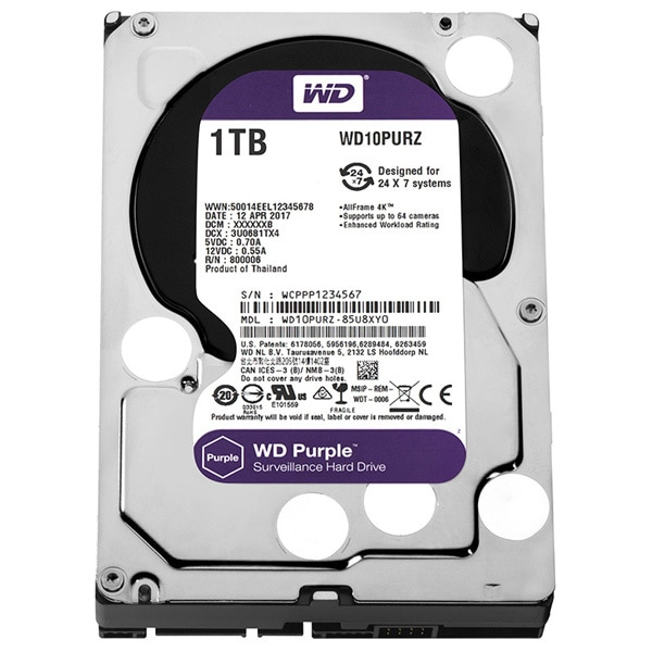 Hard Disk desktop WD Purple, 1TB, Surveillance, SATA3, 64MB, WD10PURZ