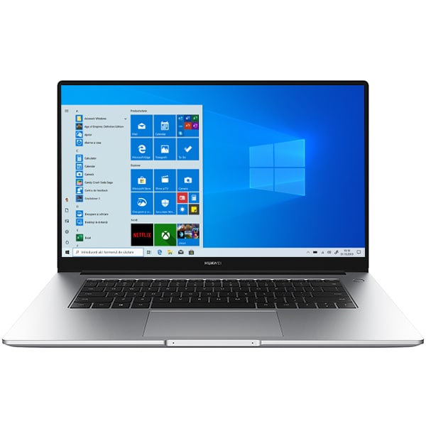 "Laptop HUAWEI MateBook D 15, AMD Ryzen 5 3500U pana la 3.7GHz, 15.6"" Full HD, 8GB, SSD 256GB, AMD Radeon Vega 8 Graphics, Windows 10 Home, argintiu"