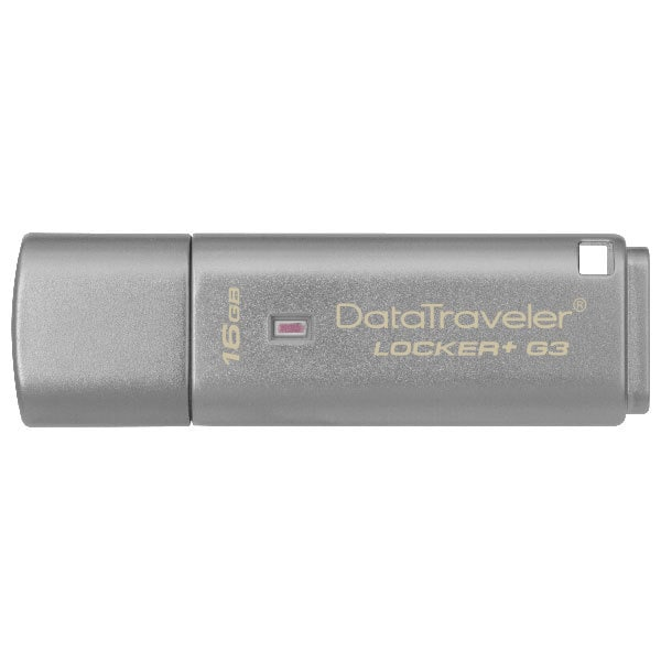 Memorie USB KINGSTON DataTraveler Locker+ G3 DTLPG3/16GB, 16GB, USB 3.0, argintiu