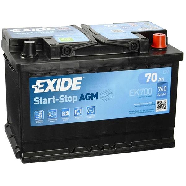 Baterie auto EXIDE Agm EK700, 12V, 70Ah, 760A