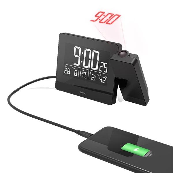 Ceas desteptator cu proiector HAMA Plus Charge, incarcare USB, negru