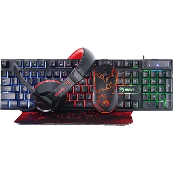 Kit Gaming 4 in 1 MARVO CM409, tastatura, mouse, casti, mousepad, negru