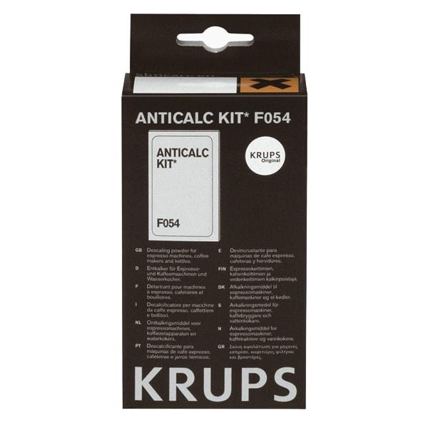 Kit anti-calcar Krups F054001A, 2 x plicuri decalcifiere, 1 x test pentru a verifica duritatea apei