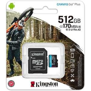 Card de memorie KINGSTON Canvas Go! Plus microSDHC 512GB, Clasa 10 UHS-I, U3, V30, A2, 170MBs, adaptor
