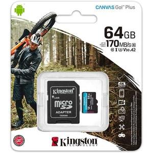 Card de memorie KINGSTON Canvas Go! Plus microSDHC 64GB, Clasa 10 UHS-I, U3, V30, A2, 170MBs, adaptor