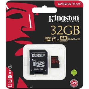 Card de memorie KINGSTON Canvas React microSDHC 32GB, Clasa 10 UHS-I, V30, 100MBs, adaptor
