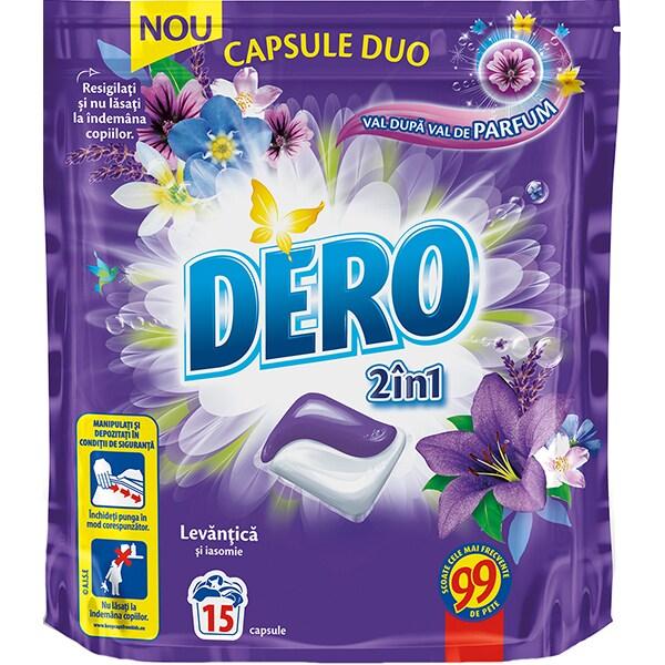 Detergent DERO Duo CapsLavanda, 15 capsule, 15 spalari